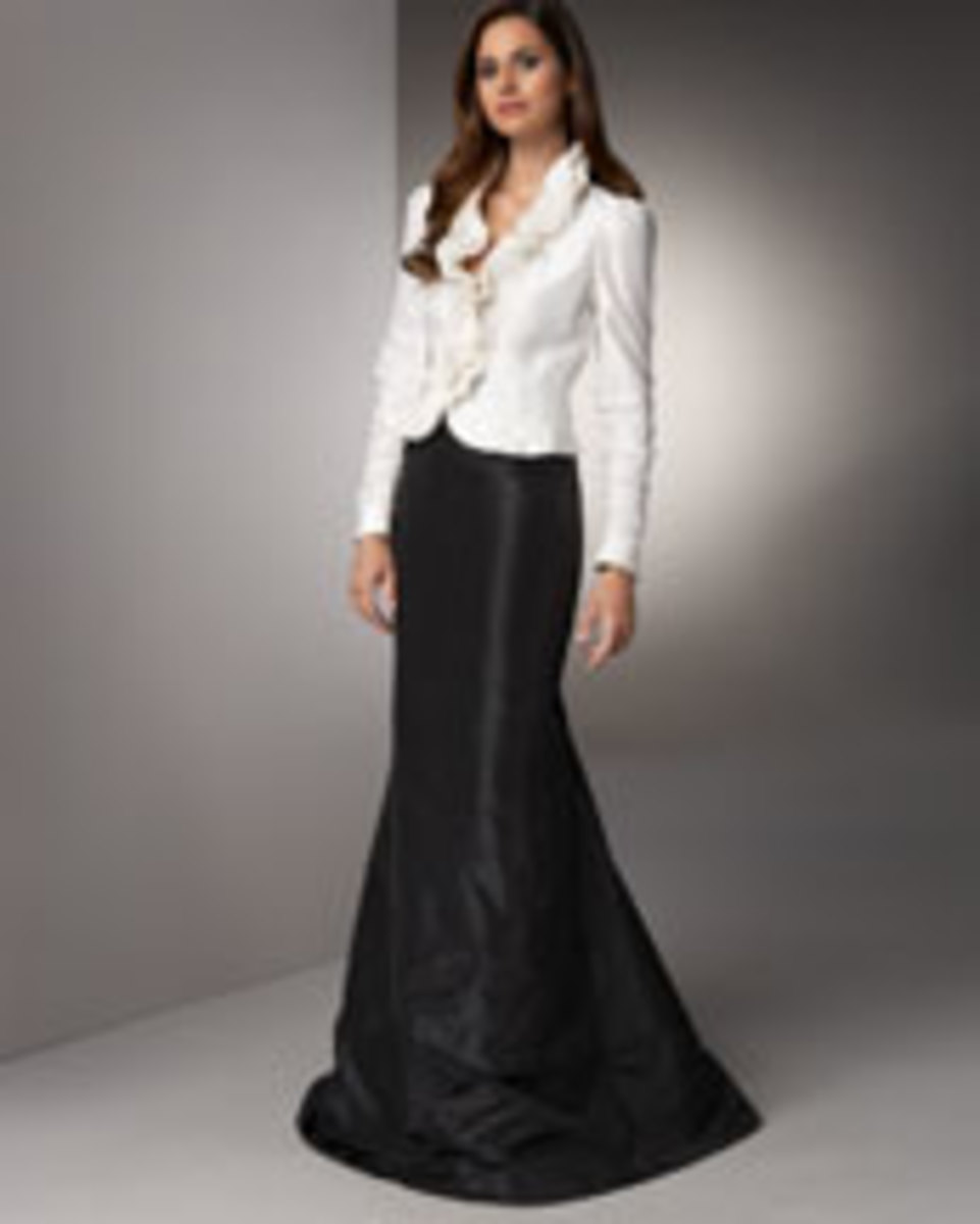 Carmen Marc Valvo taffeta blouse & skirt, $480-$545, available at neimanmarcus.com.  Photo credit- neimanmarcus.com