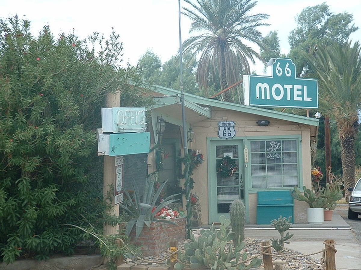 The Route 66 Motel on historic U.S. Route 66 in the Californian Mojave Desert/
