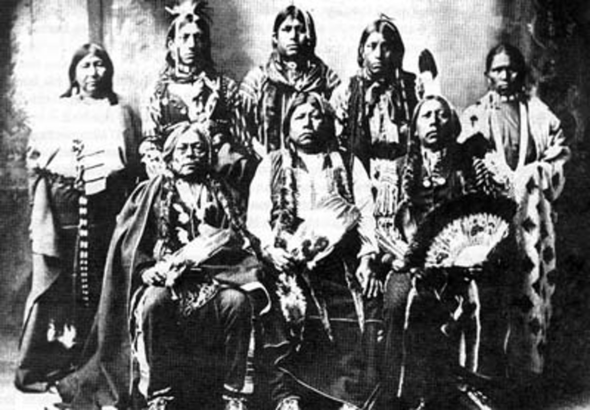 1898 Tonkawa Indians-Photo credit: http://commons.wikimedia.org/wiki/File:Tonkawa_chiefs.jpg  Tonkawas photographed by Rhinehart in 1898. Standing L-R, Winnie Richards, John Rush Buffalo, William Stevens, John Allen, and Mary Richards. Seated L-R Joh