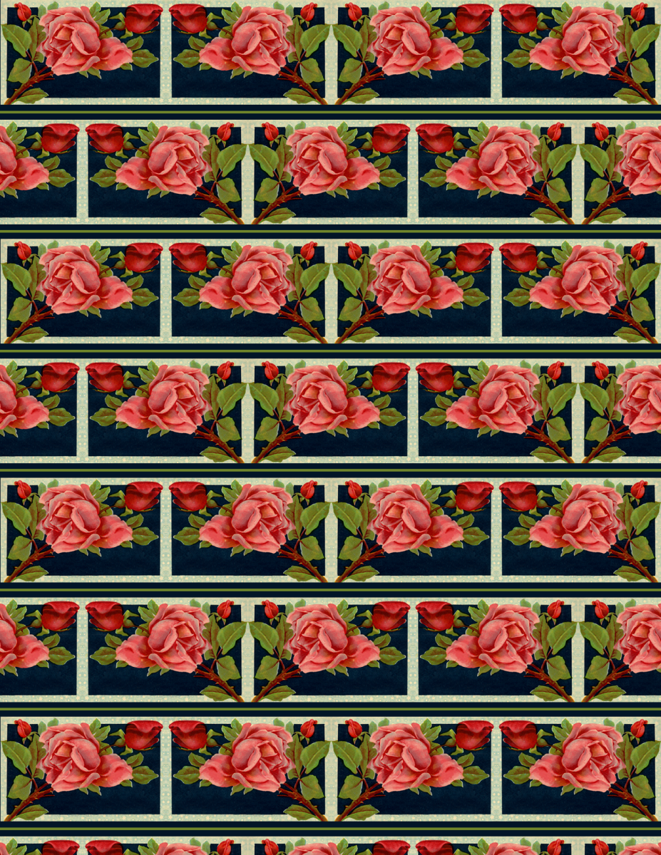 Free vintage red and pink roses scrapbook paper