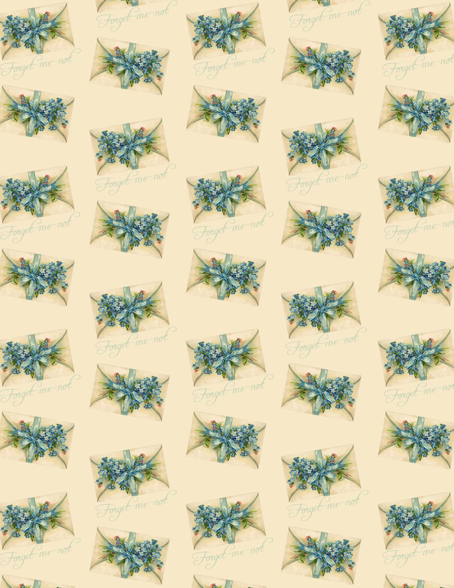 Forget-me-nots vintage flower scrapbook paper