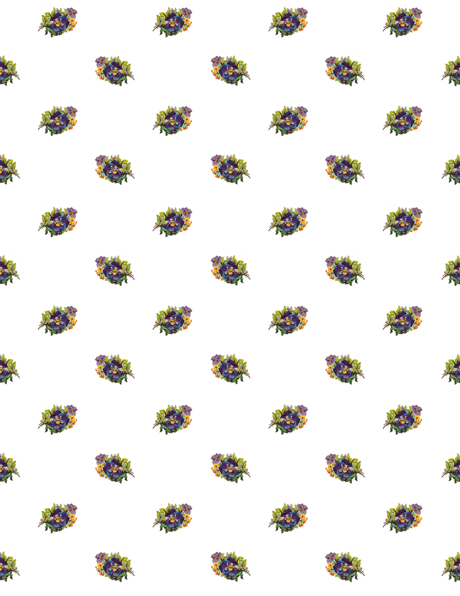 Vintage pansies flower scrapbook paper