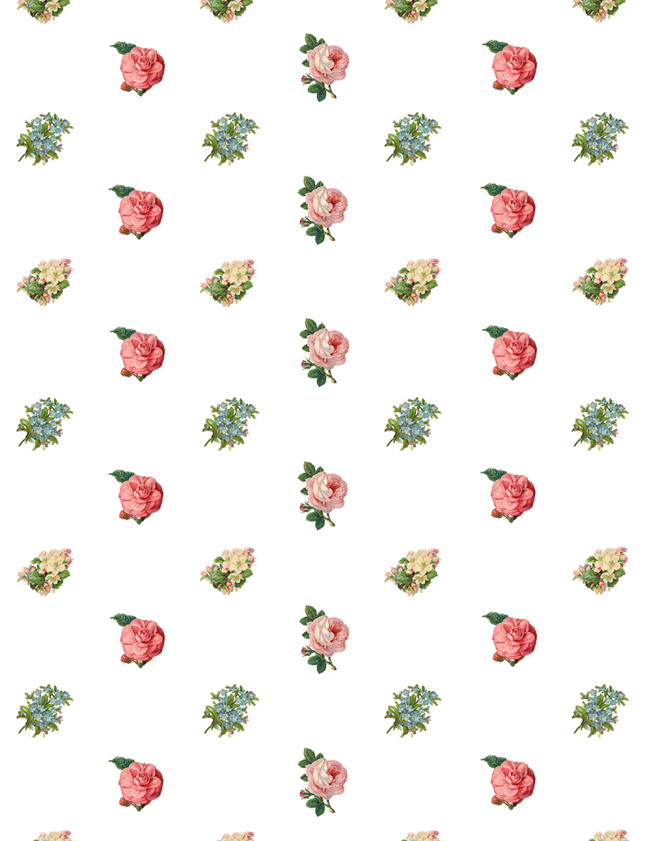 Free assorted vintage flowers scrapbook paper