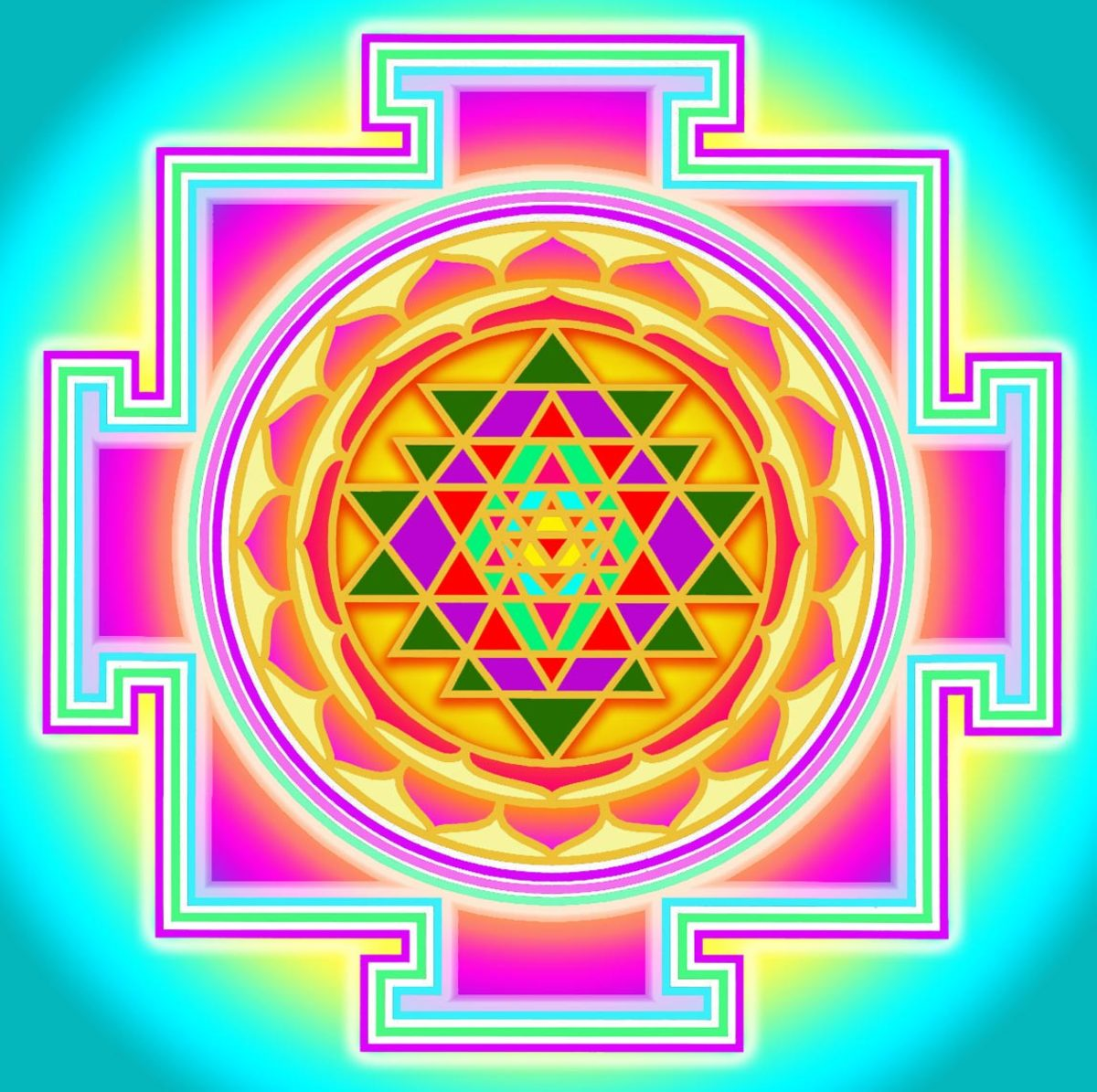 Sri Yantra's center represents a junction between physical reality and unmanifested reality.
