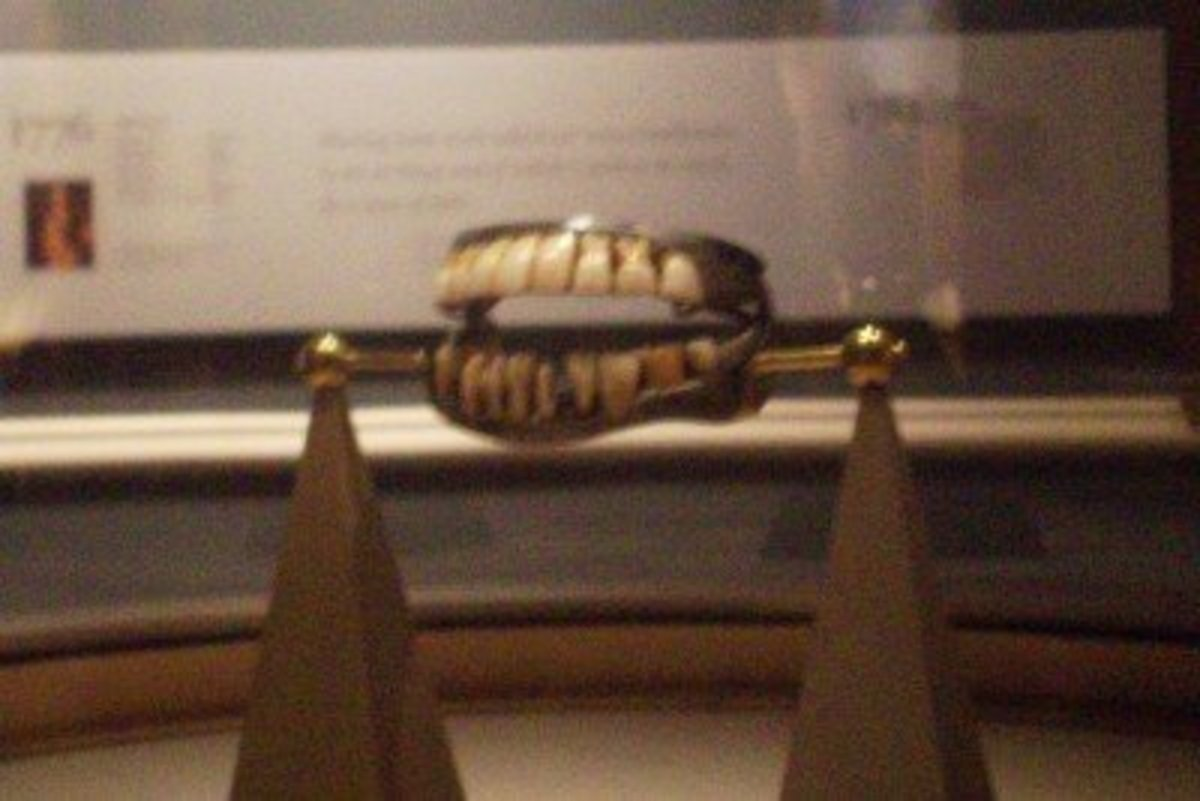 Washington's teeth were a combo of human teeth and modeled teeth carved from cow teeth and elephant ivory, circa 1790 [Mount Vernon Ladies' Association information].