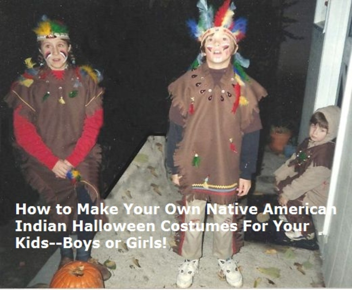 Make your own Indian or Native American Halloween costumes--it's fun AND easy!