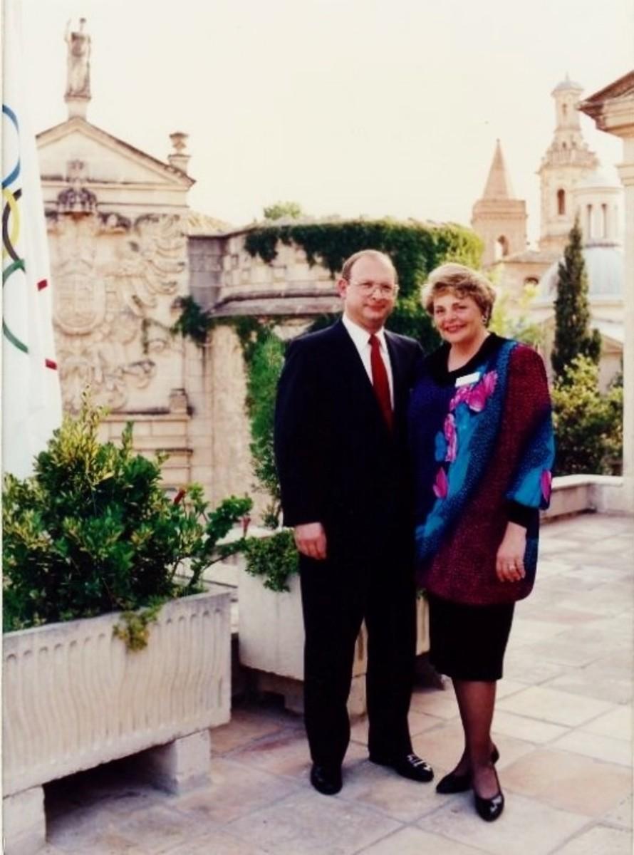 Our photo taken in the courtyard at Palma de Mallorca's Civic Center