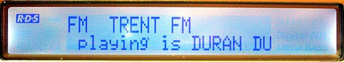 RDS readout on an FM radio.