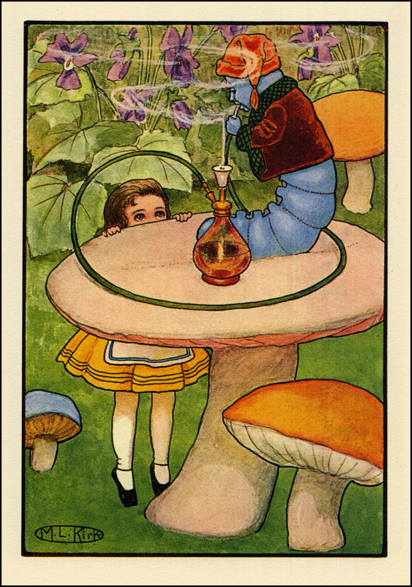 """Alice and the Caterpillar"" by Maria Kirk (1904)"