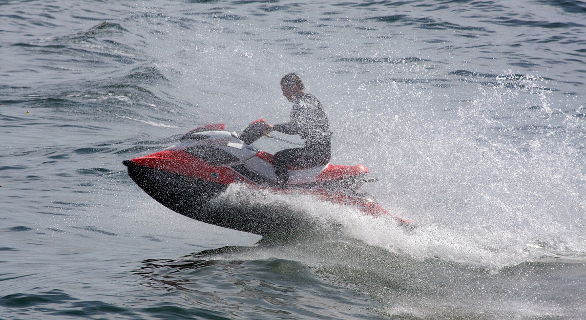 A Sea-Doo RXP in action.
