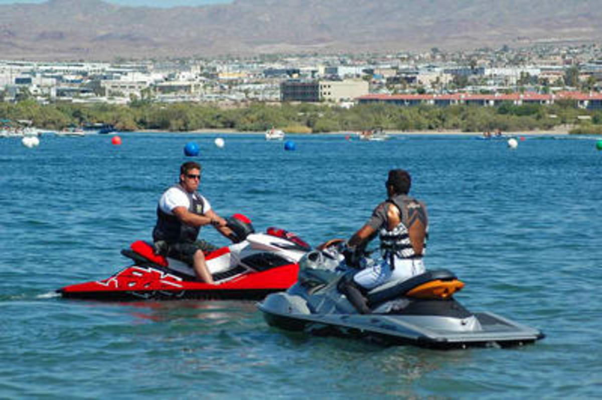 By far the best 2009 personal watercraft on the market: the Sea-Doo RXP 2008 in red and RXP-X 255 2009 in silver.