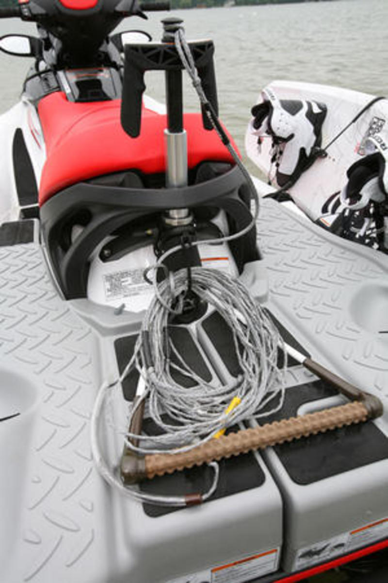 Easy handling with the new ski pole attachment for wakeboarding behind the 2009 Wake Sea-Doo.