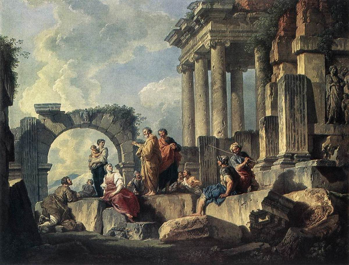 PAUL PREACHING IN THE RUINS AS PAINTED BY PANNINI IN 1744