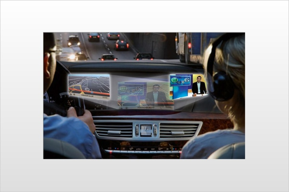 Mercedes Benz has introduced new technology that lets two different images or programs be displayed onscreen at once on the instrument panel