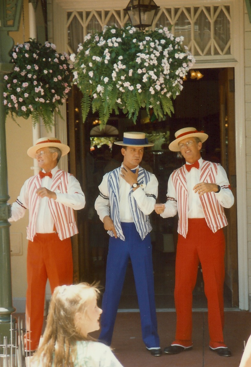 Barbershop trio singing in harmony on a street corner of Main Street USA