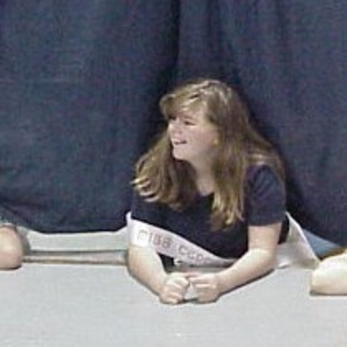 Here's one of Shannon's daughters at a pageant rehearsal.