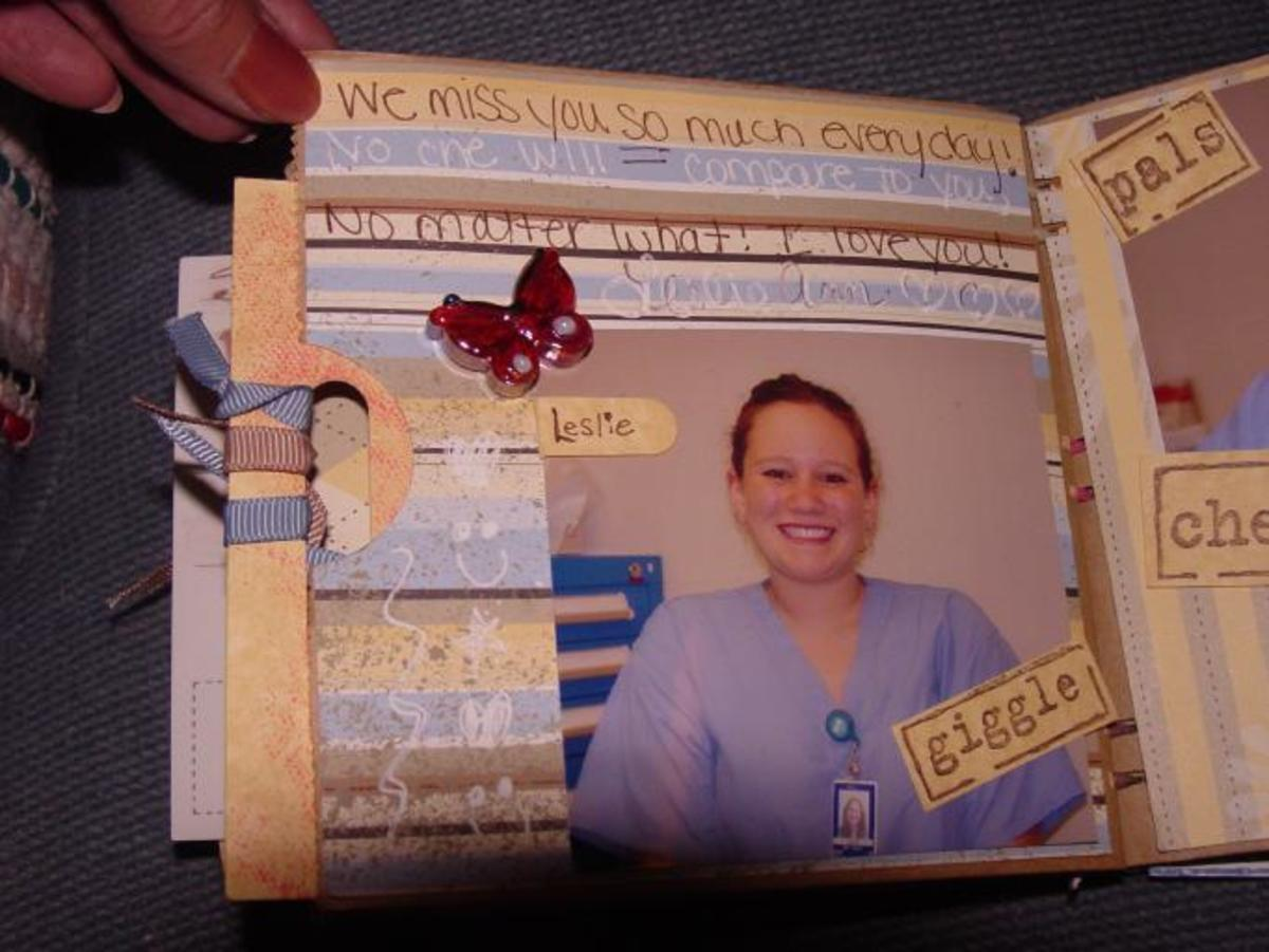 Here's a memory book that Shannon made about her work pals at the hospital.