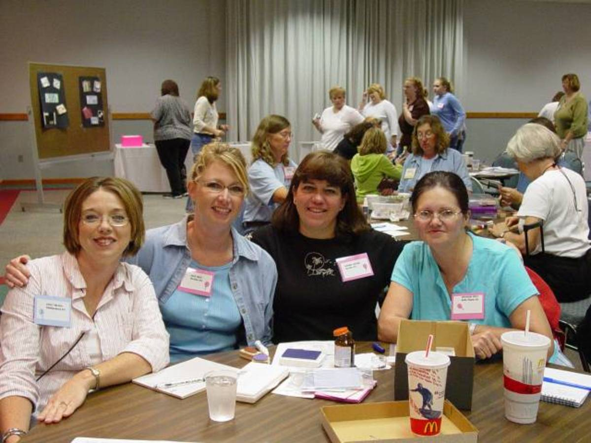 The photo shows Shannon at the 2005 Nebraska Stamping Up convention. Shannon was a rep for Stampin Up and demonstrated the stamps and techniques at home parties.