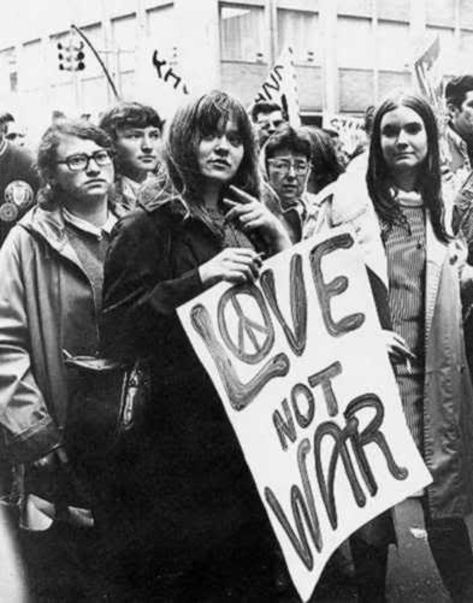 drab wear preferred by many hippies (by the way, hippies leave politics to radicals)