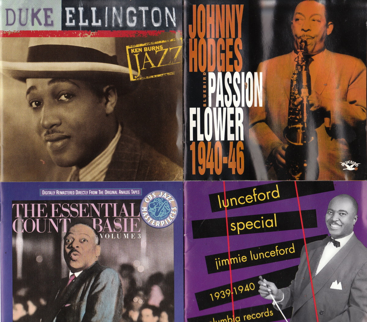 Clockwise: Duke Ellington; Johnny Hodges; Count Basie; Jimmie Lunceford