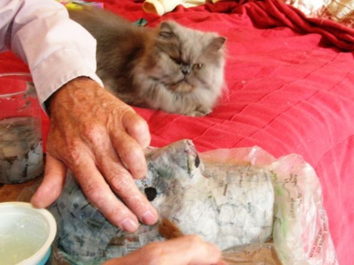 Mew supervises as the final layers of applique are applied.