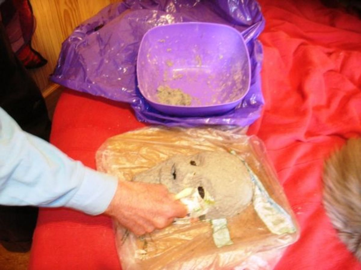 Tadpole models the mask with commercial papier mache mix, preparing a first layer as a base.