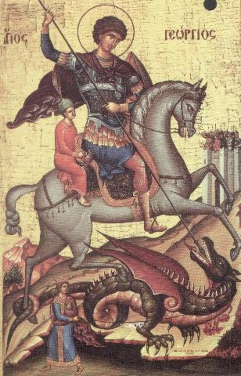 ROMANIAN ICON OF ST GEORGH SLAYING THE DRAGON