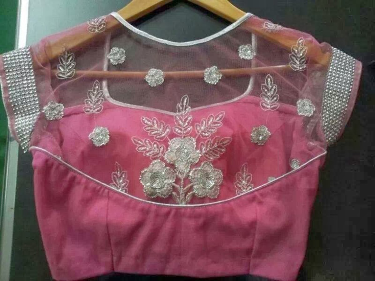 Pink sheer back saree blouse with silver embroidery