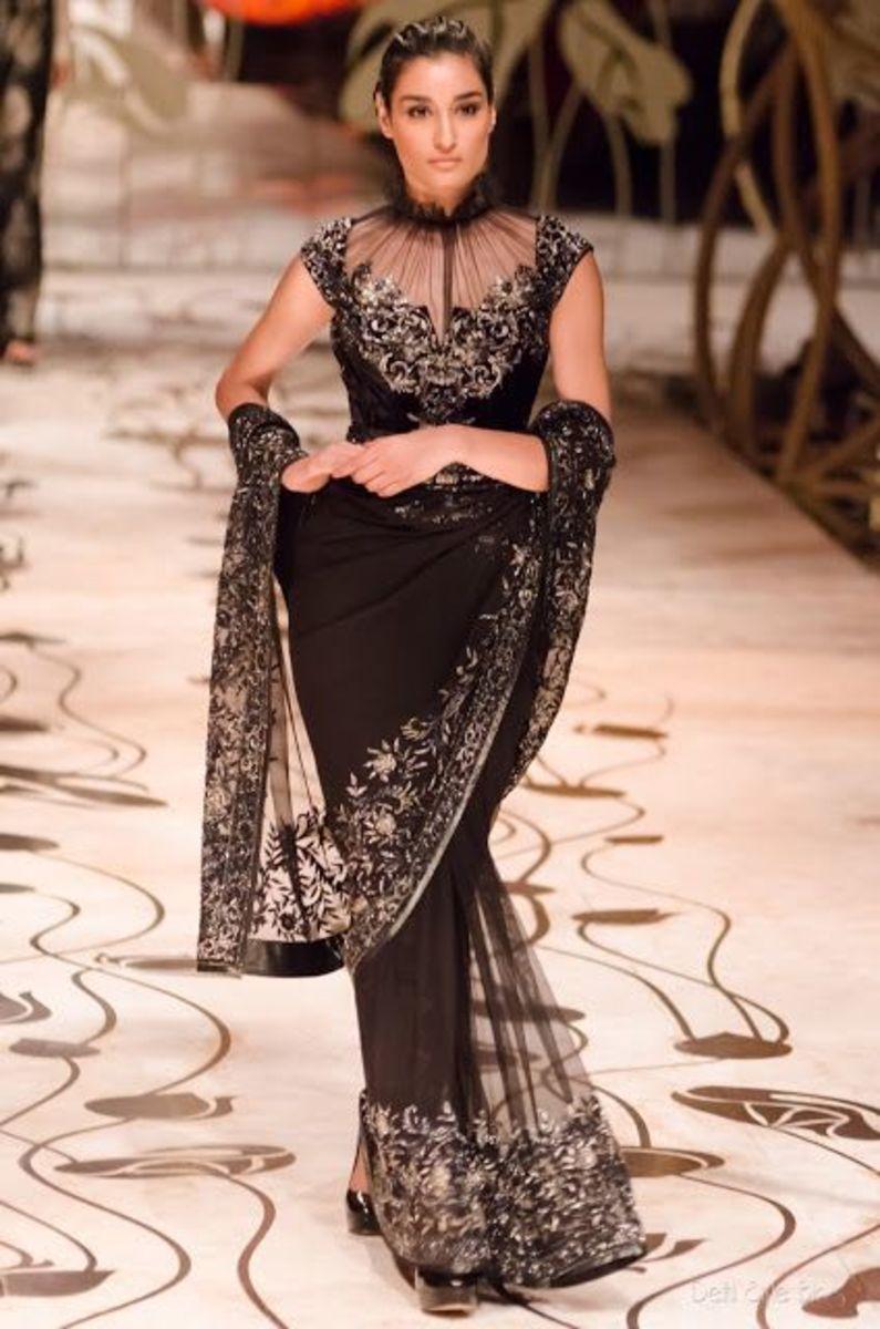 Black fashion designer saree with full blouse with unique neck design