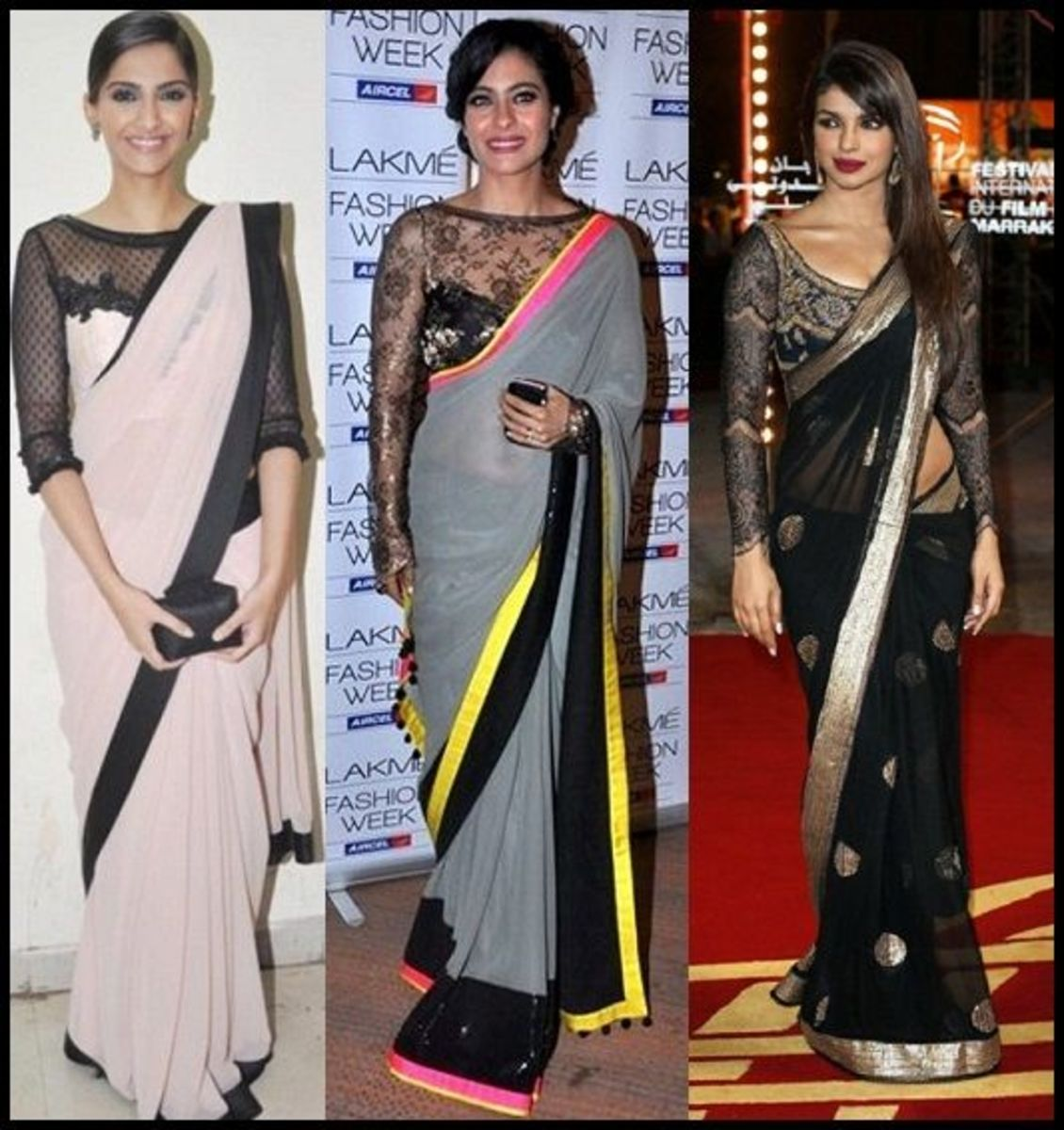 Bollywood actresses in sheer saree blouses in net material and lace fabric