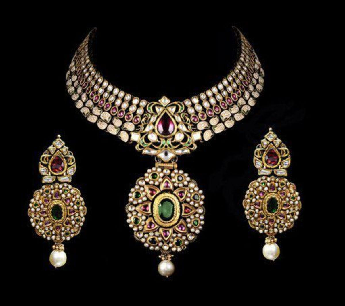 Stunning Wedding Jewellery set with green stones red stone and white kundan