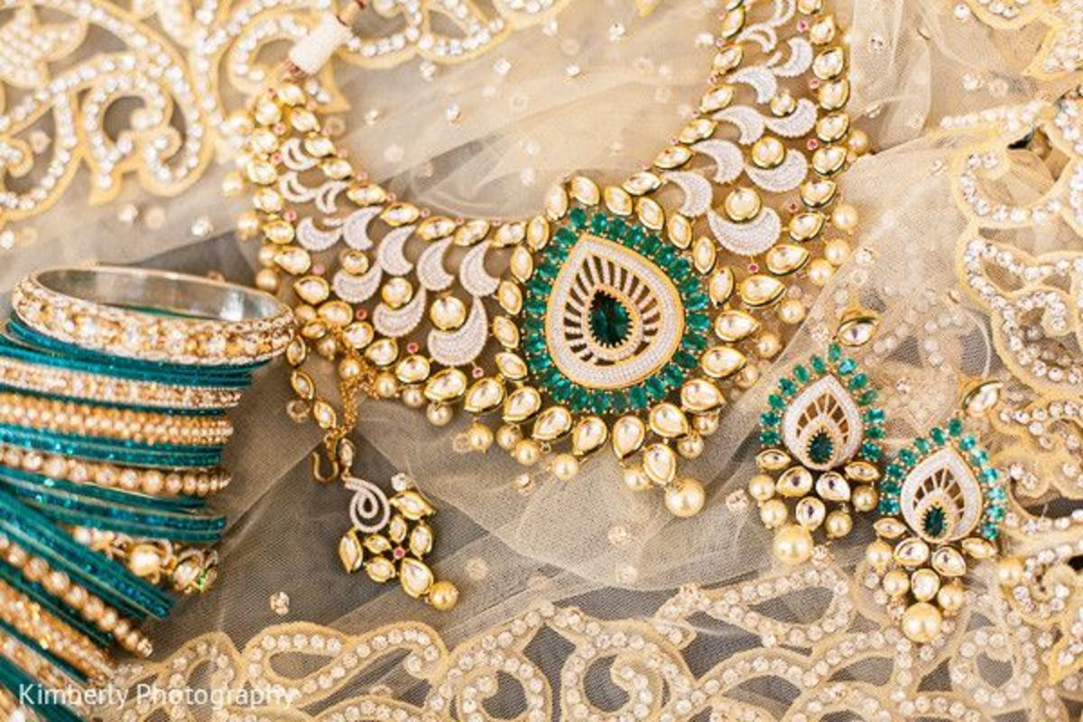 Most beautiful bridal necklace design with kundan and green tear shaped design
