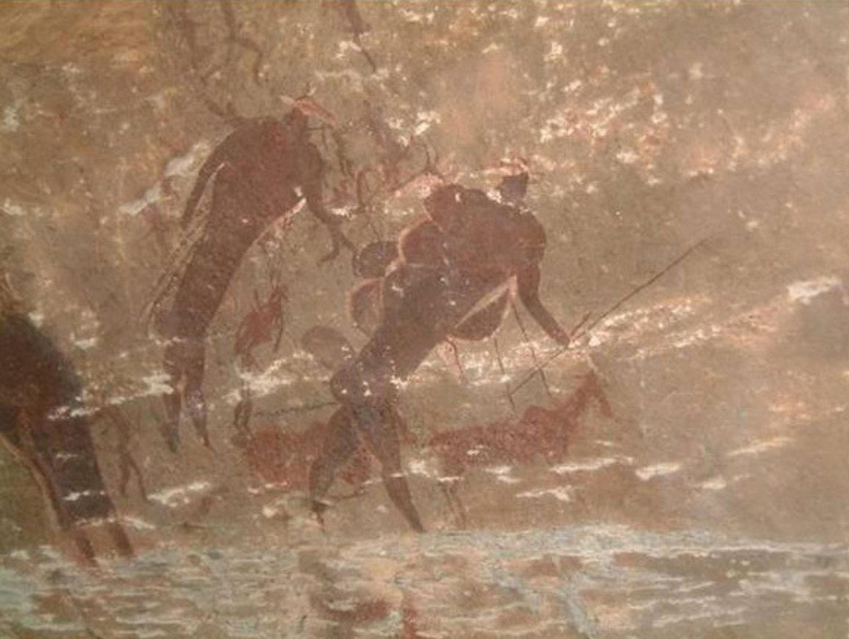 Between 20000 to 30000 years ago, people started leaving more obvious signs of their presence. Detailed cave paintings (so-called Bushman paintings) are found depicting hunting, domestic and ceremonial activates.