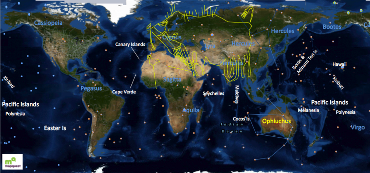 Drawing of the Lascaux cave painting over a map of the Earth, using the constellation Vulpecula and Hercules to scale and aid alignment. Star positions shown here are current modern star positions. Earth Map created using multiple high resolution Map