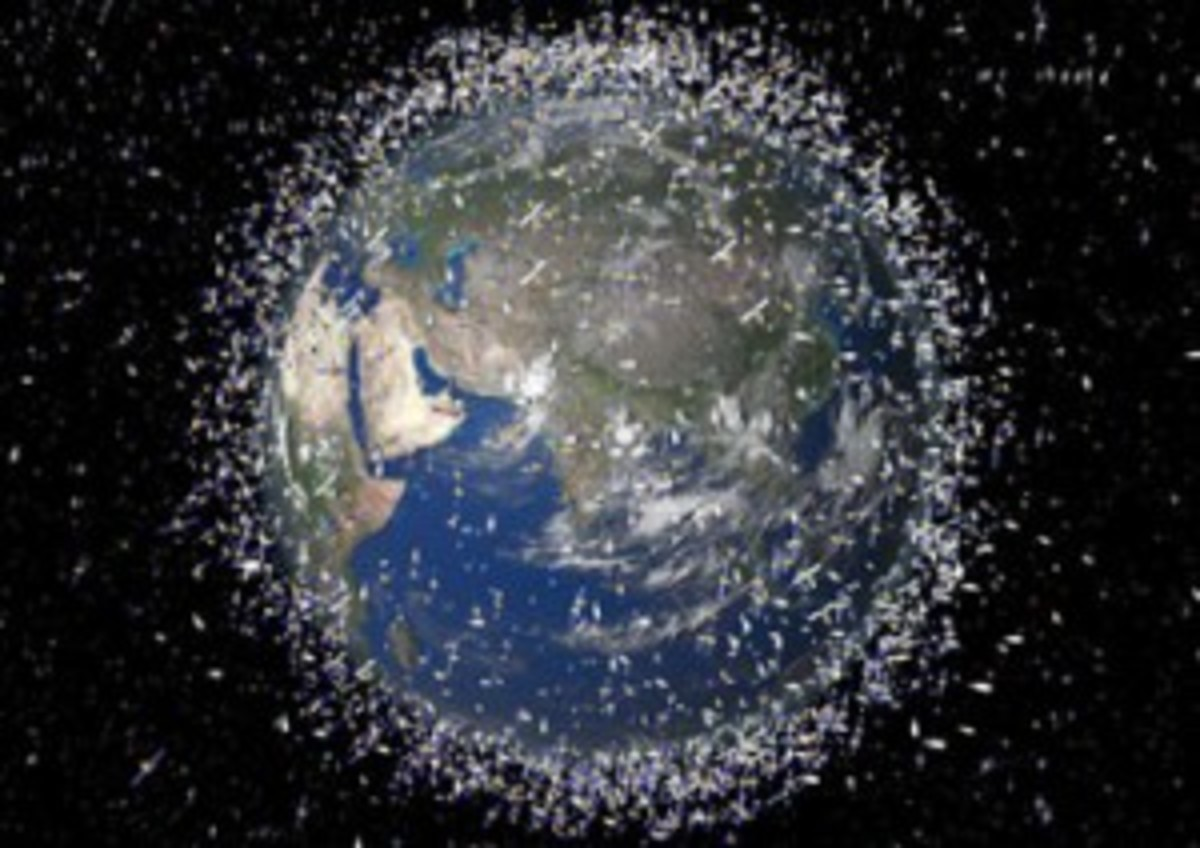 Crashed Satellite and Space Debris Swirling the earth