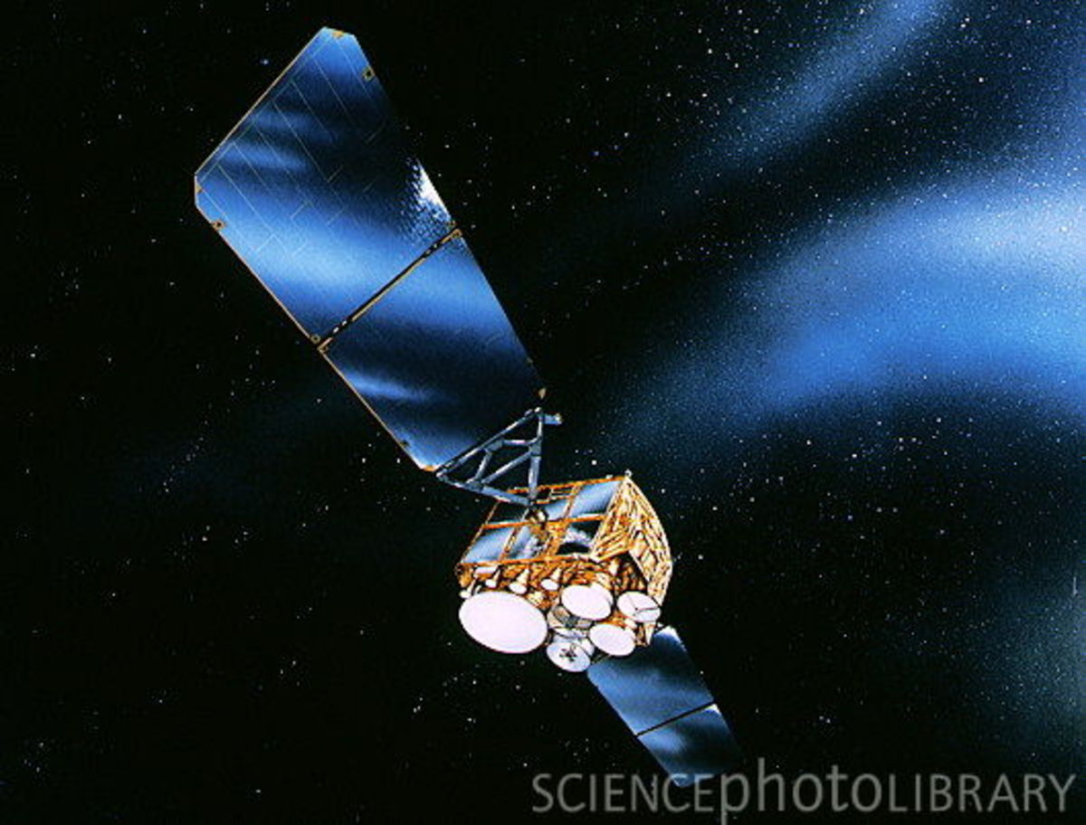 artist's impression of a Defense Satellite Communications System LHase III. the satellites have a degree of nuclear hardening, enabling them to operate in the intense electromagntic field generated by nuclea weapon blasts. Were launched in 1985 and