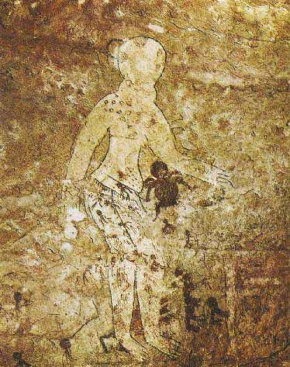 Some of the painting have bizarre depictions of what appear to be spacemen wearing suits, visors, and helmets. resembling modern day astronauts. This takes us to the west African tribe - the Dogon whose legends say they were guided to the area from a