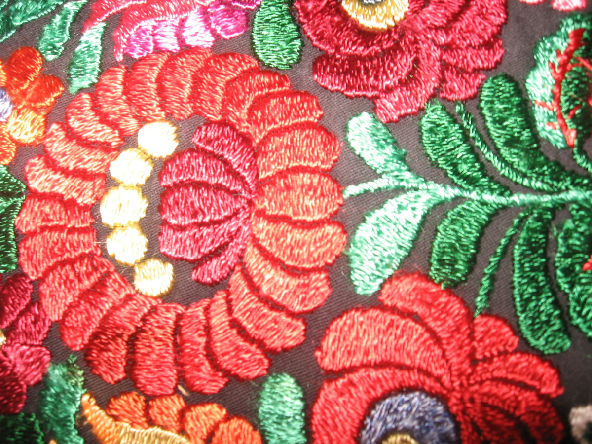 Close up of the Matyo embroidery style.