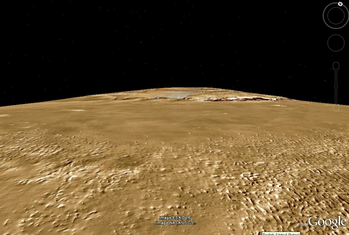 Olympus Mons dominates the horizon in this Google Mars view.