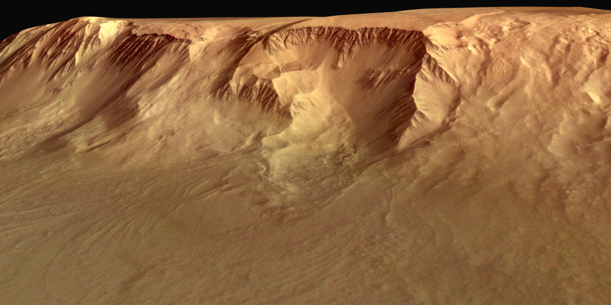 Western flank of the shield volcano Olympus Mons in the Tharsis region of the western Martian hemisphere