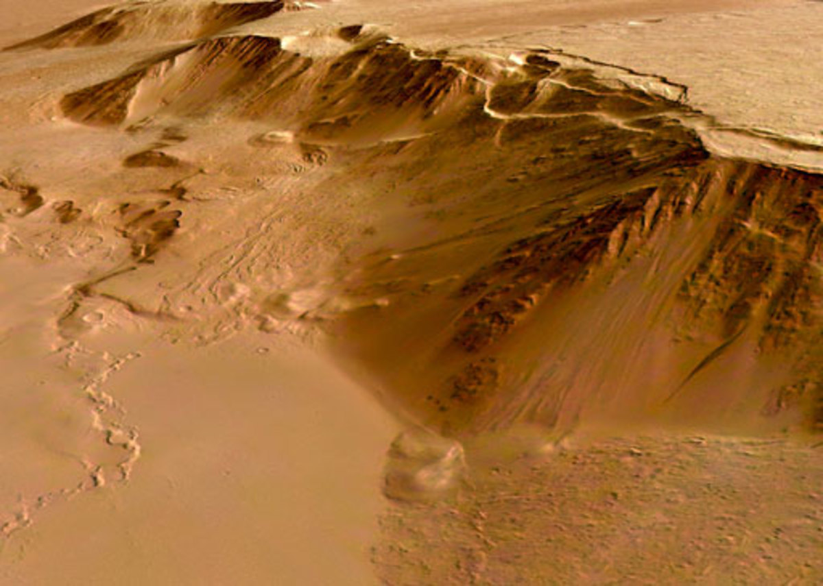 This close-up perspective view,   looking south-west, shows the   eastern scarp of the Olympus   Mons volcano.