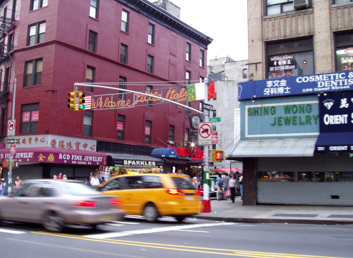 Canal Street in New York City, the traditional border of Chinatown and Little Italy.