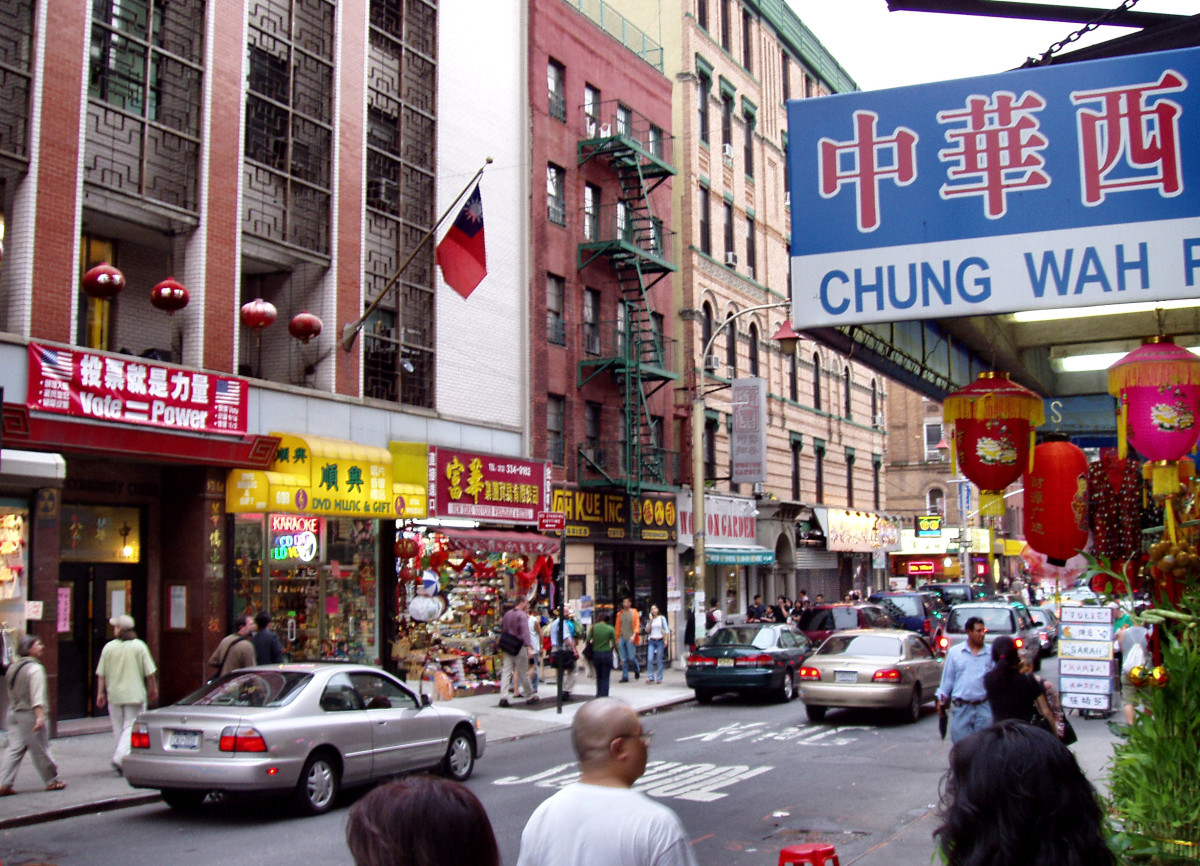 Mott Street in New York City, the traditional center of Chinatown, where the Chinatown Community Center is located