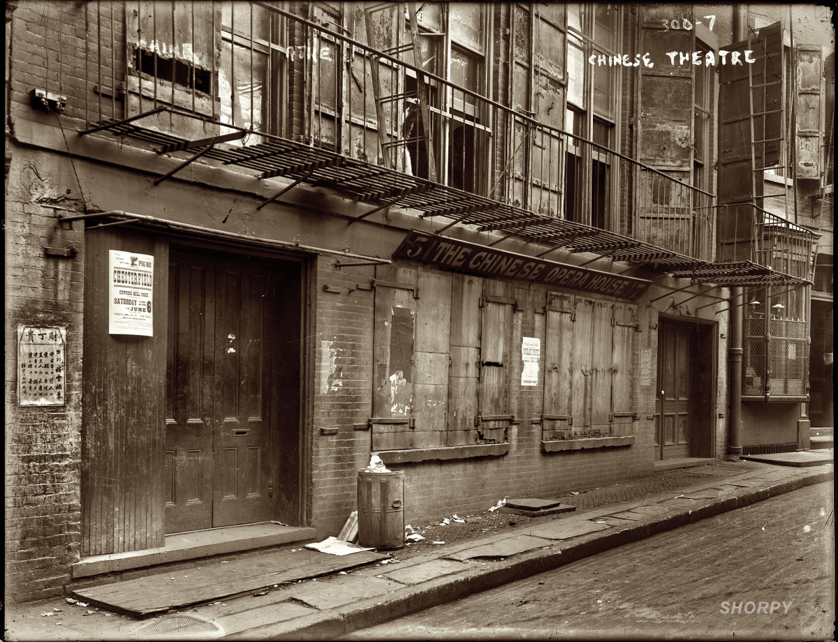 """New York, 1908. """"The Chinese Opera House."""" 5-7 Doyers Street. George Grantham Bain Collection, Library of Congress."""