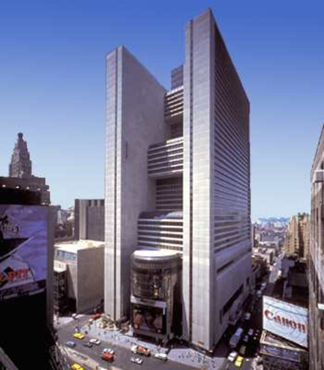 "New York Marriott Marquis, site of the 2008 ""International Conference On Climate Change,"" organized by the Heartland Institute."