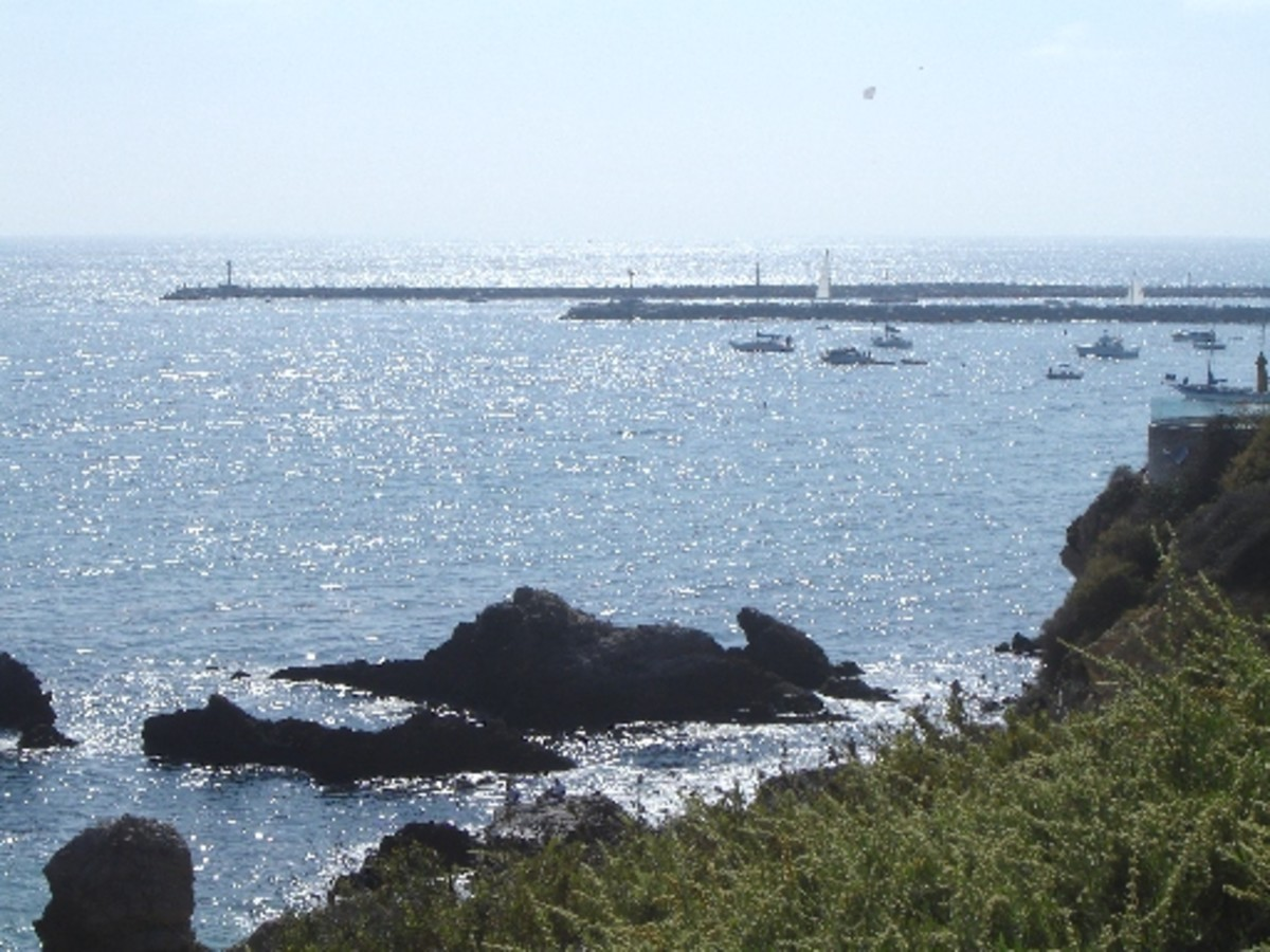 """The Jetty (Breakwater) - on the other side of jetty is the famous """"wedge"""" where the waves can break 12 ft. high in strom"""