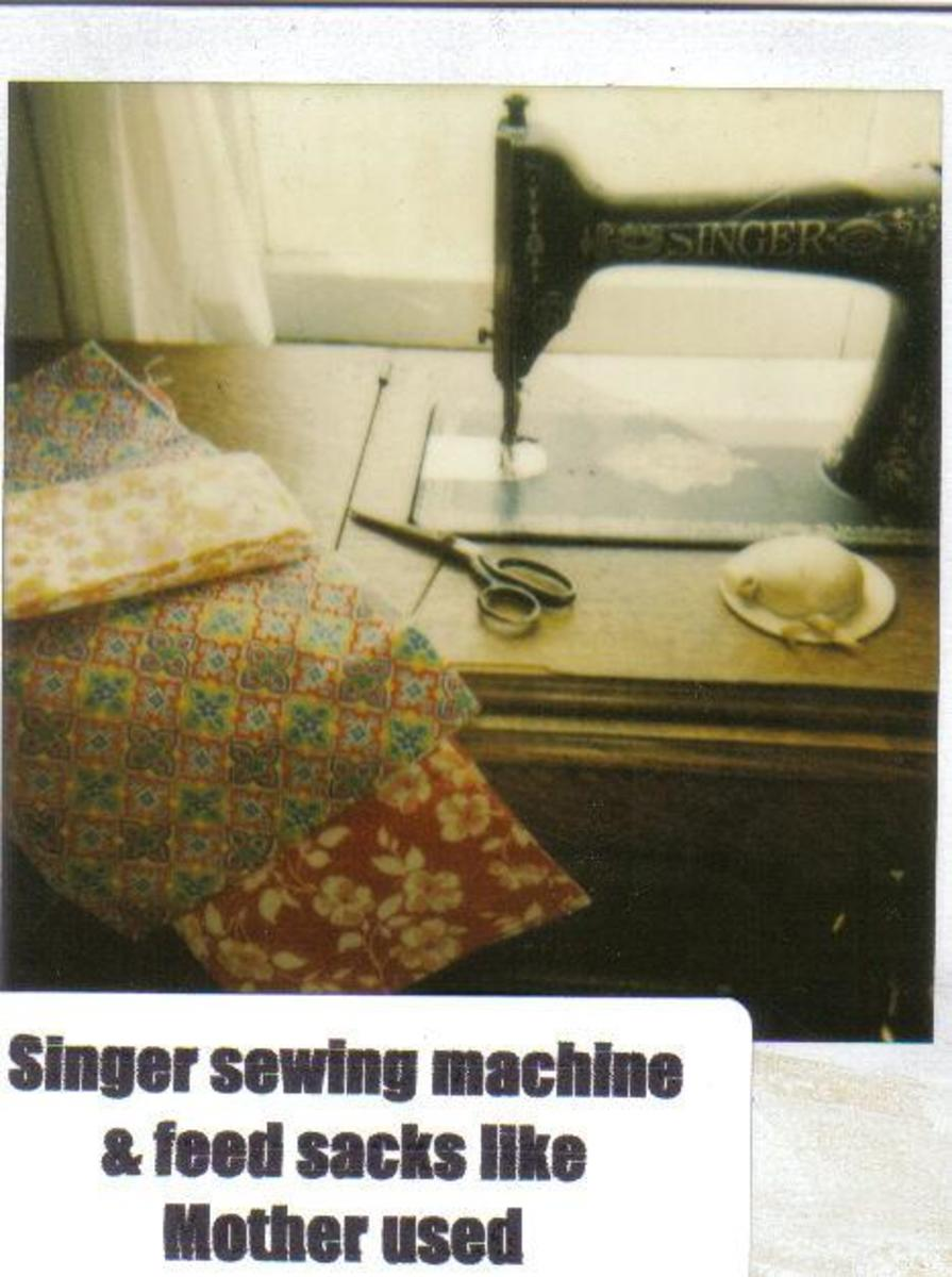 Singer Sewing Machine and Feed Sack Material - Photo by Gail Lee Martin