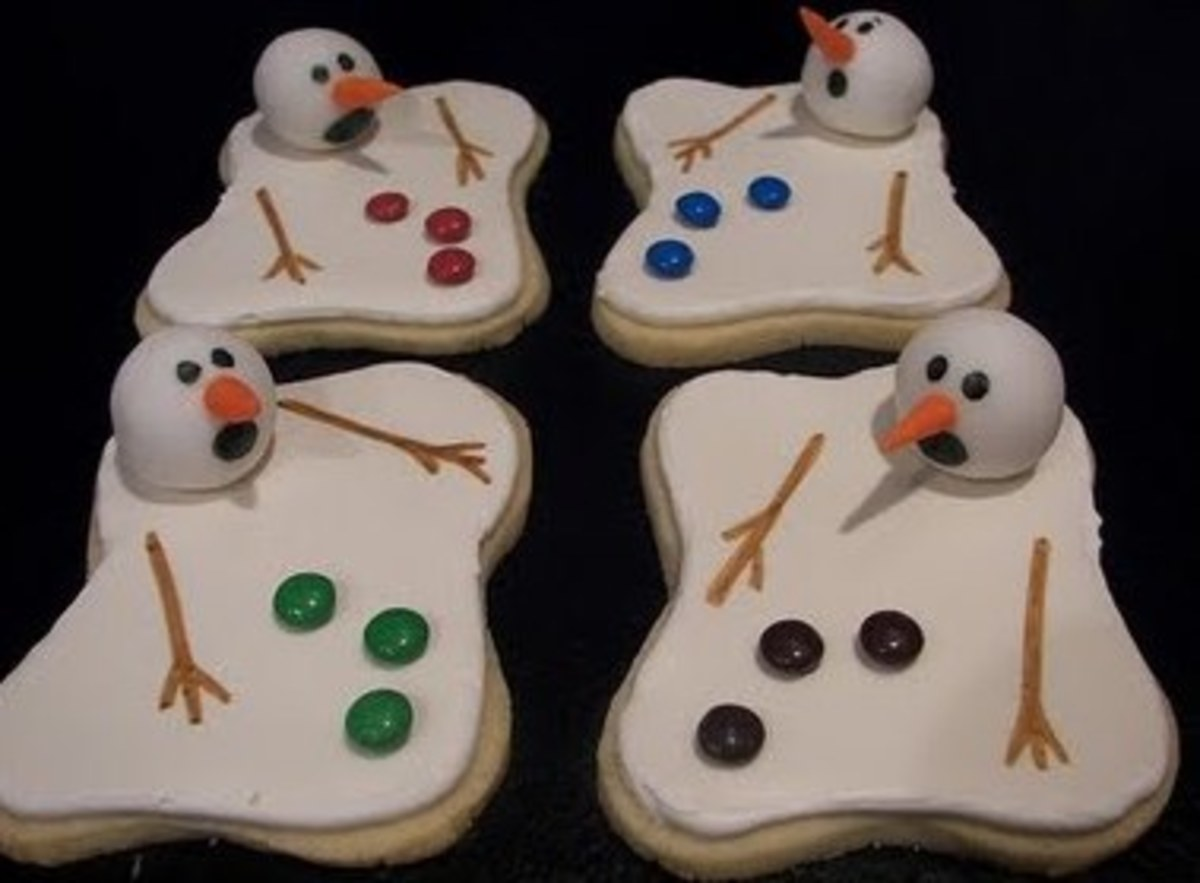 Melting snowman cookies. Sugar cookie dough, M&M for buttons.
