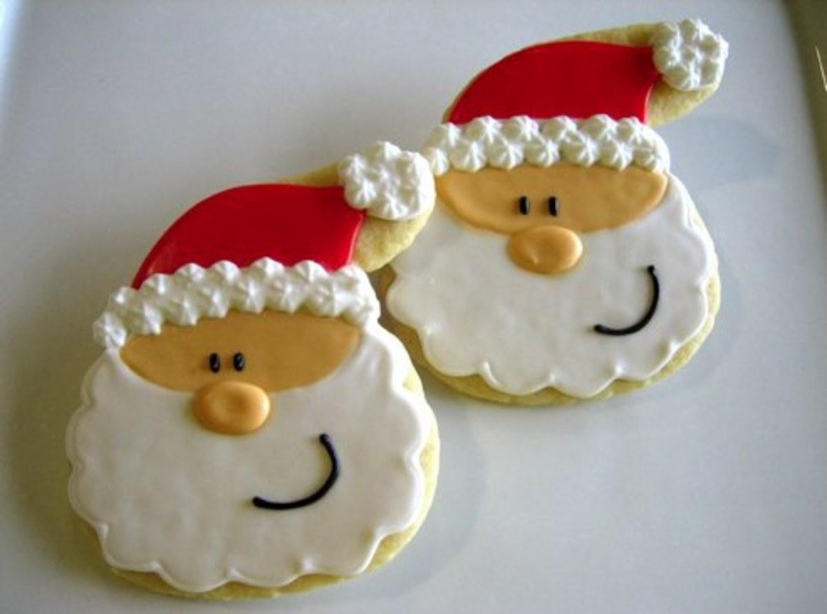Sugar cookie Santa faces.