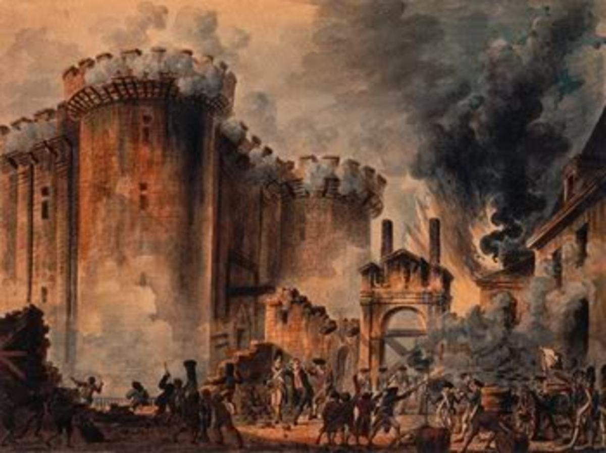 The Storming and burning of the Bastille.